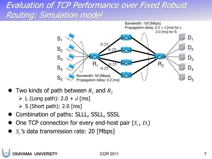 Evaluation of TCP Performance over Fixed Robust Routing: Simulation model