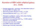 accretion of mbh within elliptical galaxy w l ciotti