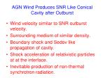 agn wind produces snr like conical cavity after outburst