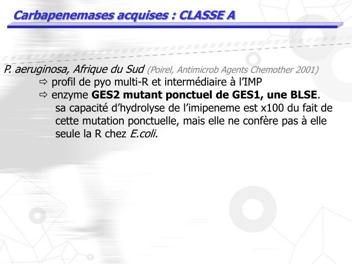 Carbapenemases acquises : CLASSE A