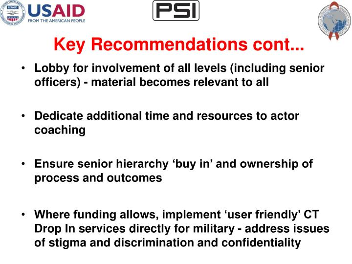 Key Recommendations cont...