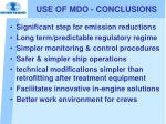 use of mdo conclusions