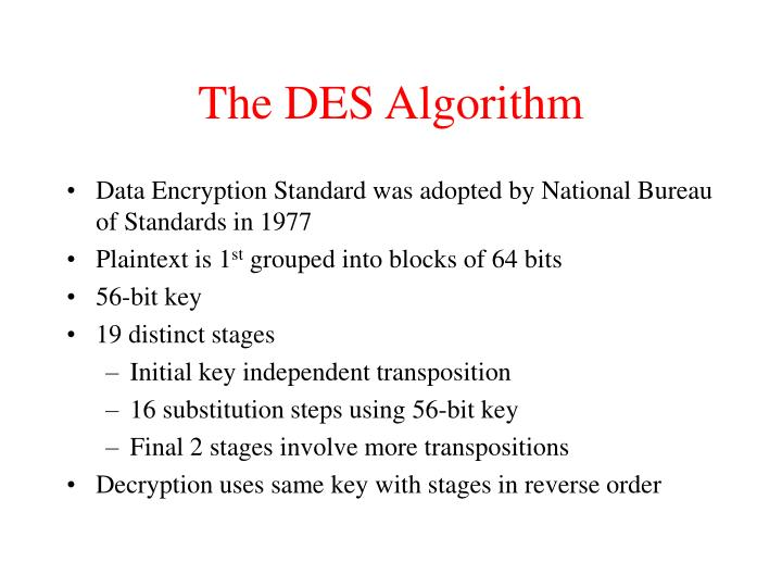 The DES Algorithm
