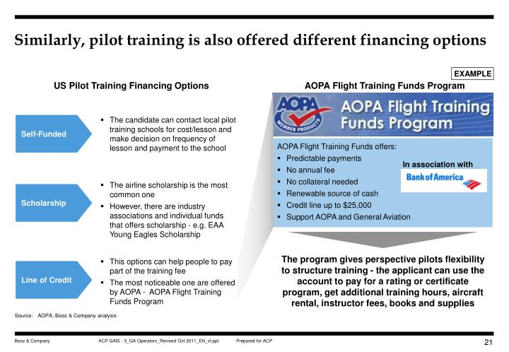 Similarly, pilot training is also offered different financing options
