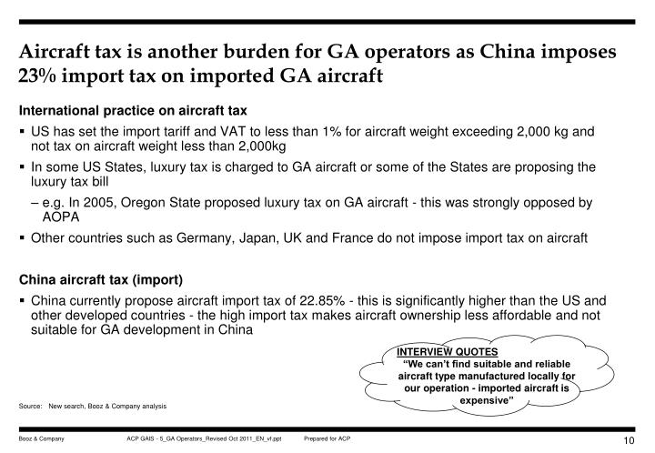 Aircraft tax is another burden for GA operators