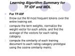 learning algorithm summary for tf idf and mdl1