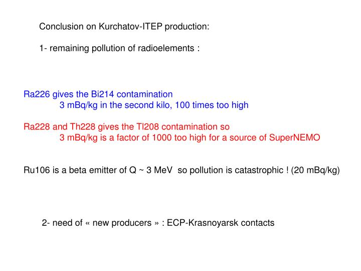 Conclusion on Kurchatov-ITEP production: