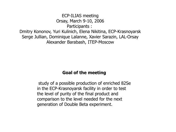 ECP-ILIAS meeting