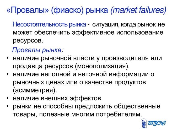 «Провалы» (фиаско) рынка