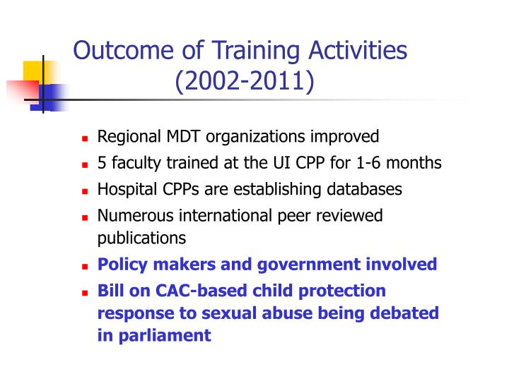 Outcome of Training Activities