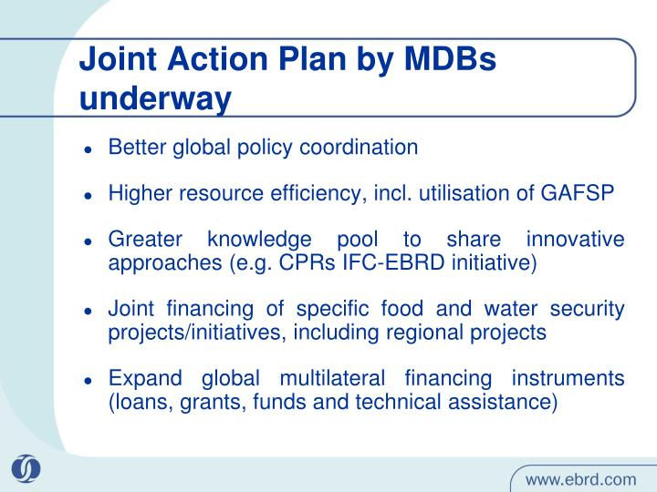 Joint Action Plan by MDBs underway