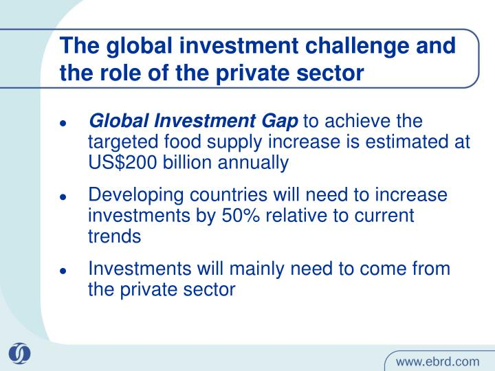 The global investment challenge and the role of the private sector