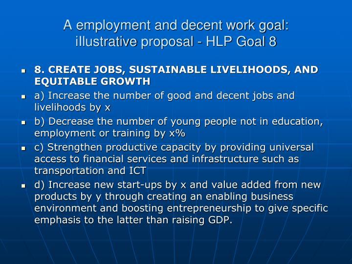 A employment and decent work goal: