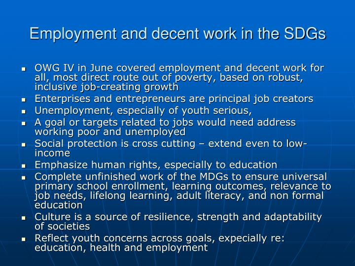 Employment and decent work in the SDGs