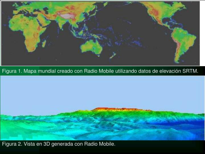 Figura 1. Mapa mundial creado con Radio Mobile utilizando datos de elevación SRTM.