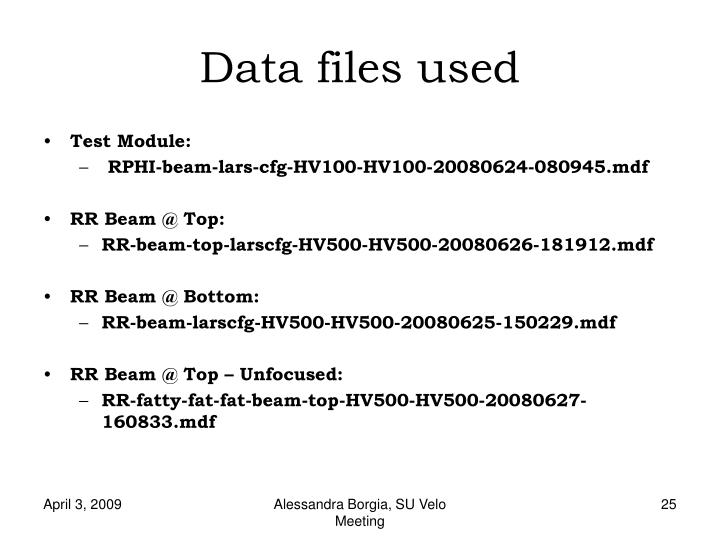 Data files used