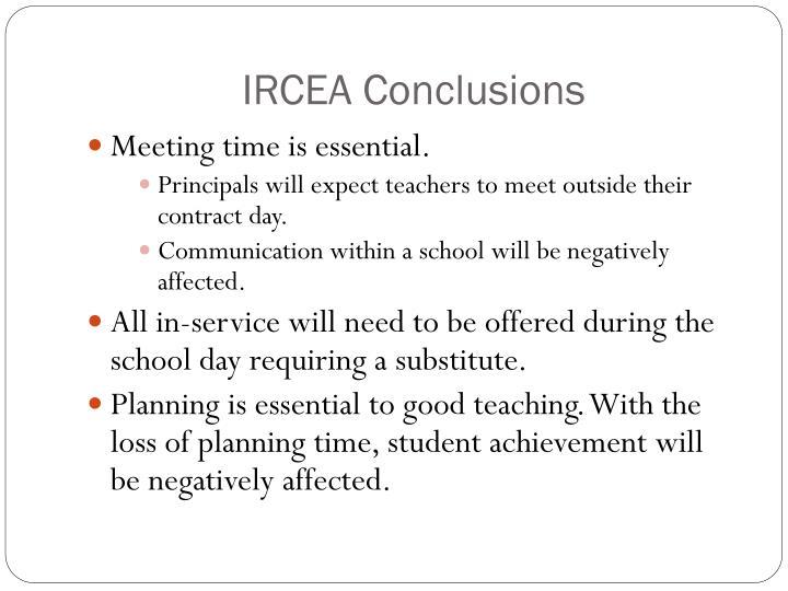IRCEA Conclusions