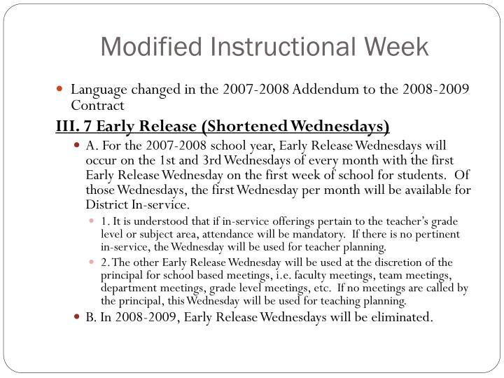 Modified Instructional Week