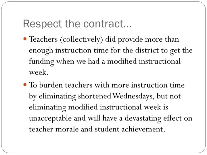 Respect the contract…