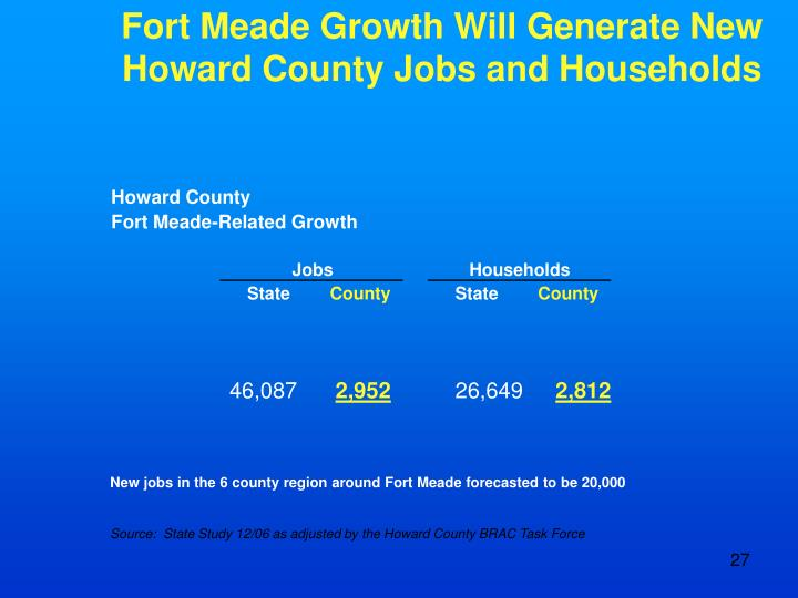 Fort Meade Growth Will Generate New Howard County Jobs and Households