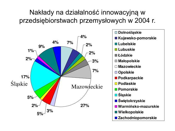 Nakłady na działalność innowacyjną w przedsiębiorstwach przemysłowych w 2004 r.