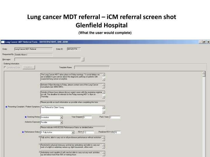 Lung cancer MDT referral – iCM referral screen shot