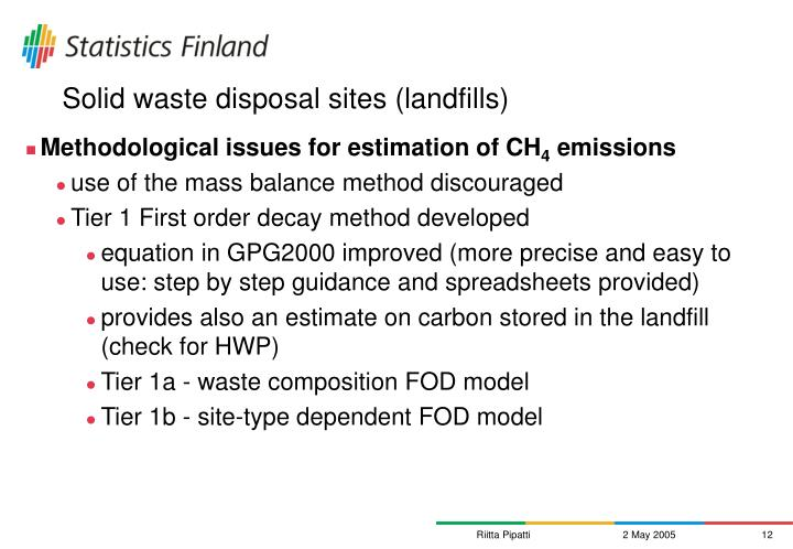 Solid waste disposal sites (landfills)