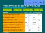 vektormodell termgewichtung