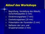 ablauf des workshops