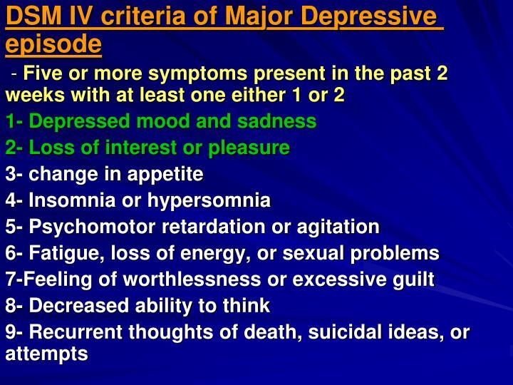 DSM IV criteria of Major Depressive episode