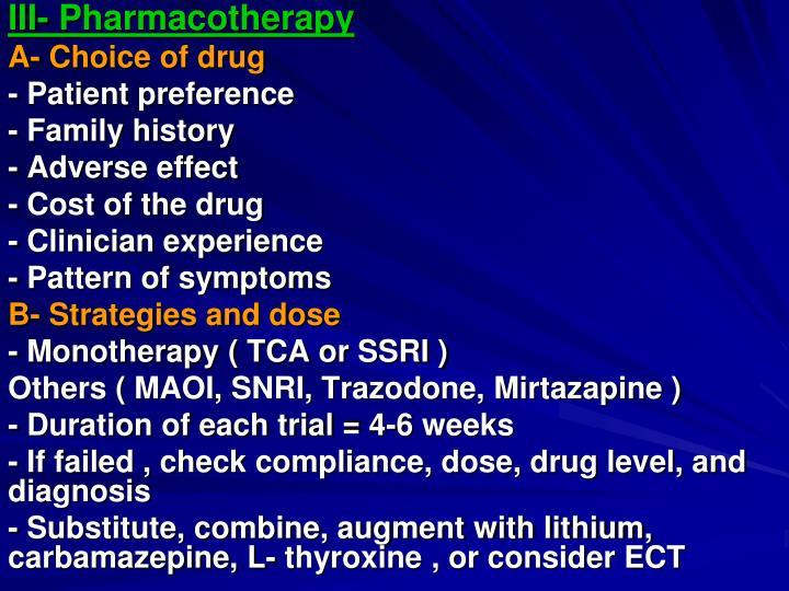III- Pharmacotherapy