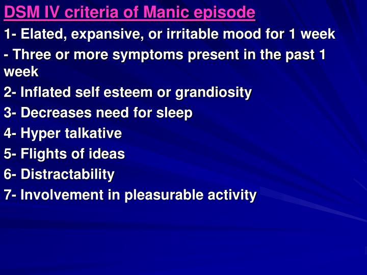 DSM IV criteria of Manic episode