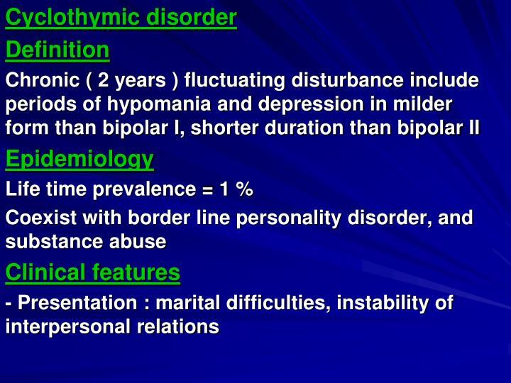 Cyclothymic disorder