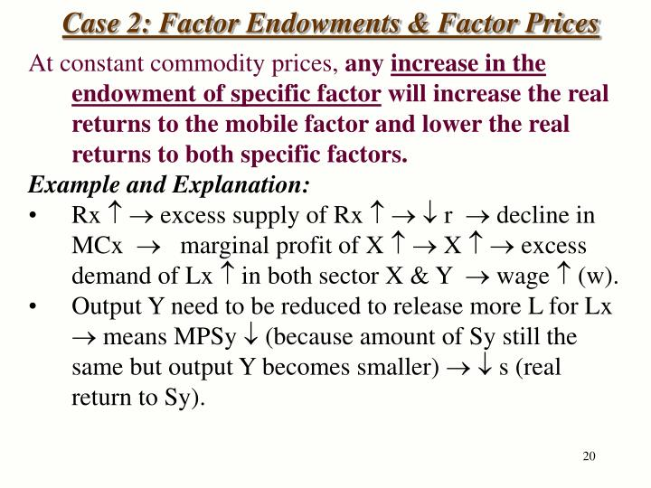 Case 2: Factor Endowments & Factor Prices