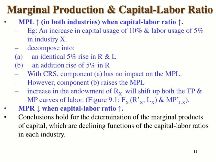 Marginal Production & Capital-Labor Ratio