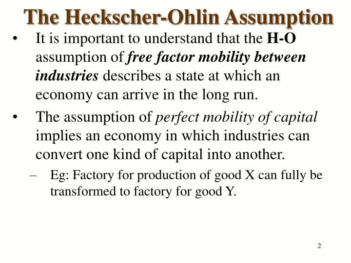 The heckscher ohlin assumption
