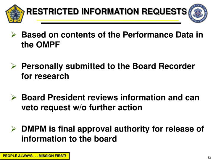 RESTRICTED INFORMATION REQUESTS