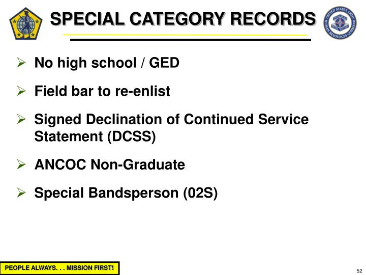 SPECIAL CATEGORY RECORDS