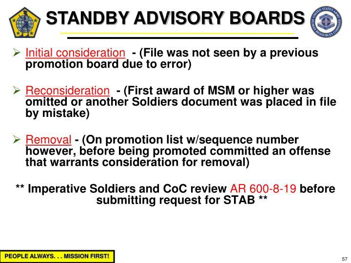 STANDBY ADVISORY BOARDS