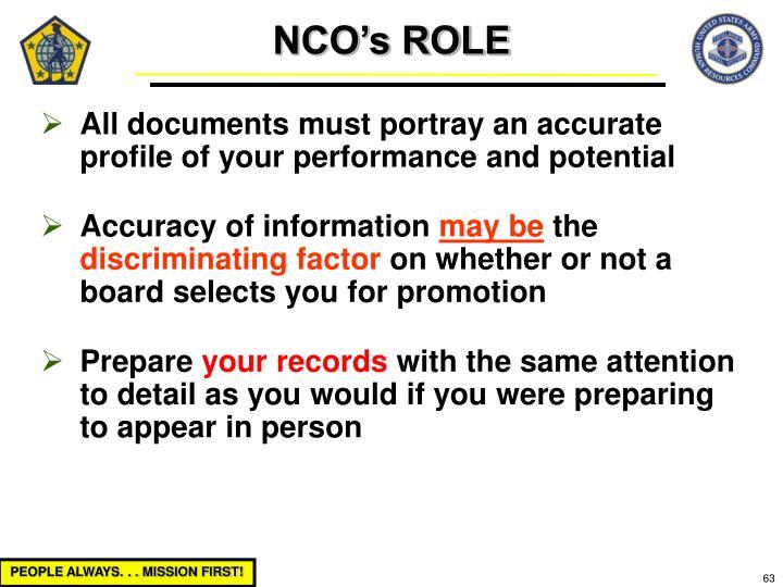 NCO's ROLE