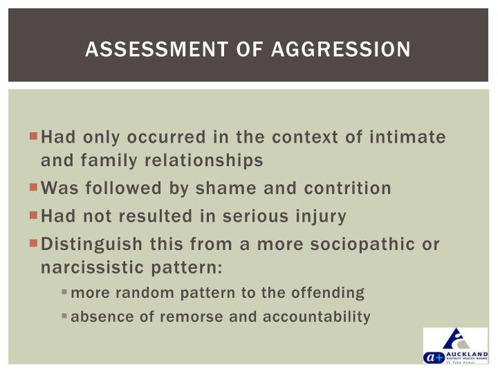 ASSESSMENT OF AGGRESSION