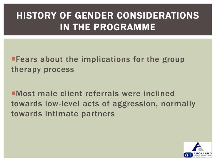 History of gender considerations in the programme