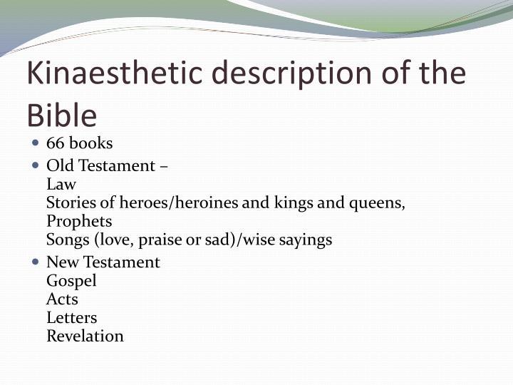 Kinaesthetic description of the Bible
