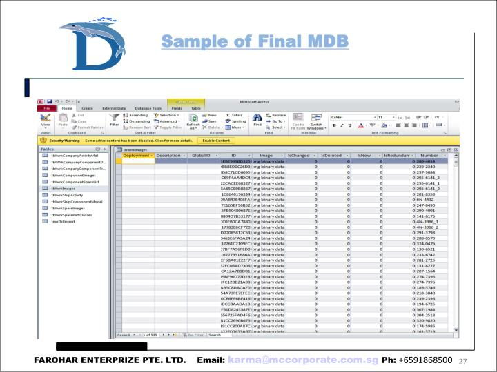 Sample of Final MDB