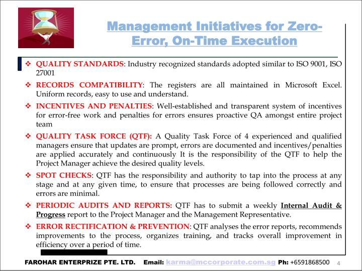 Management Initiatives for Zero-Error, On-Time Execution