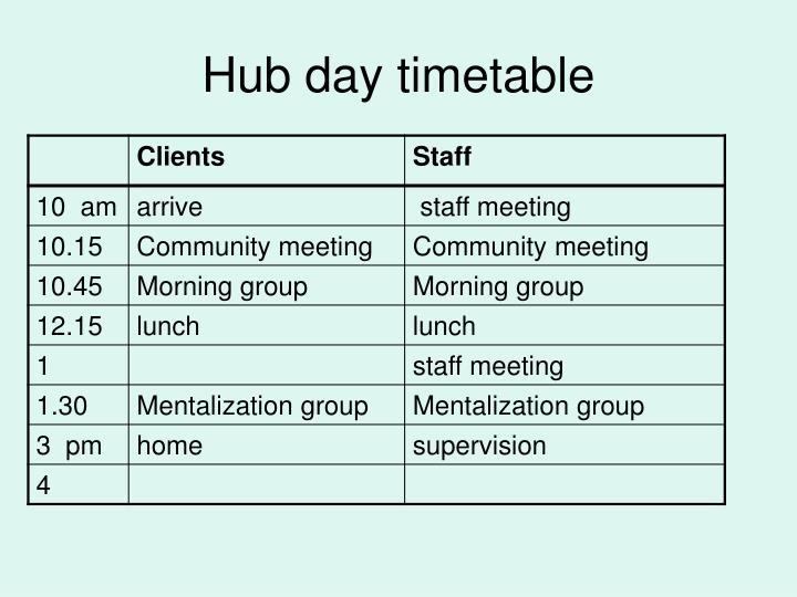 Hub day timetable