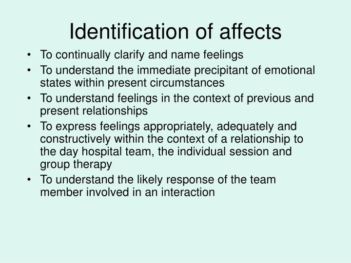 Identification of affects