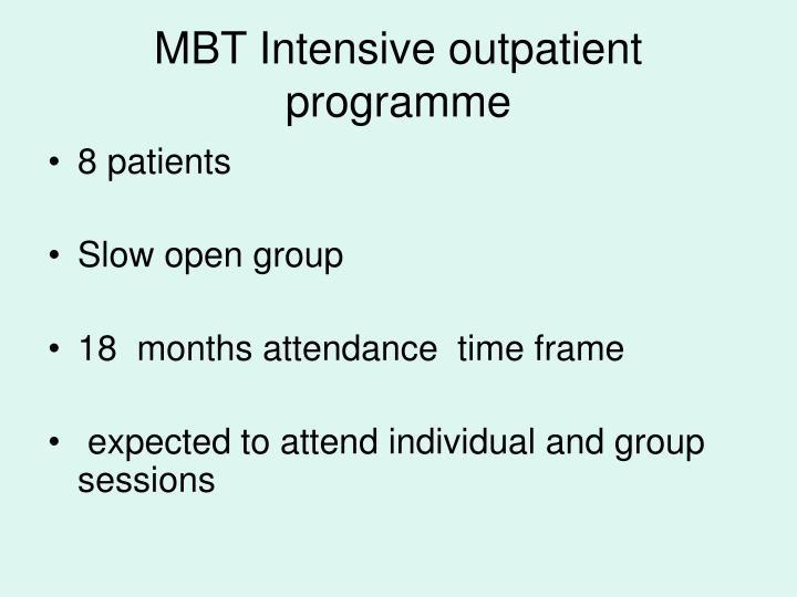 MBT Intensive outpatient programme