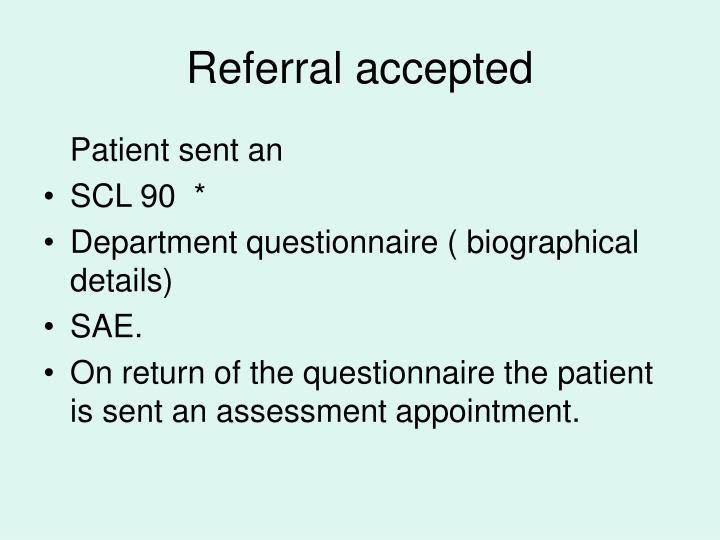 Referral accepted