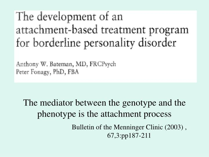 The mediator between the genotype and the phenotype is the attachment process